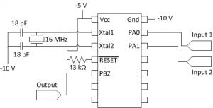 Acoustic modem microcontroller circuit