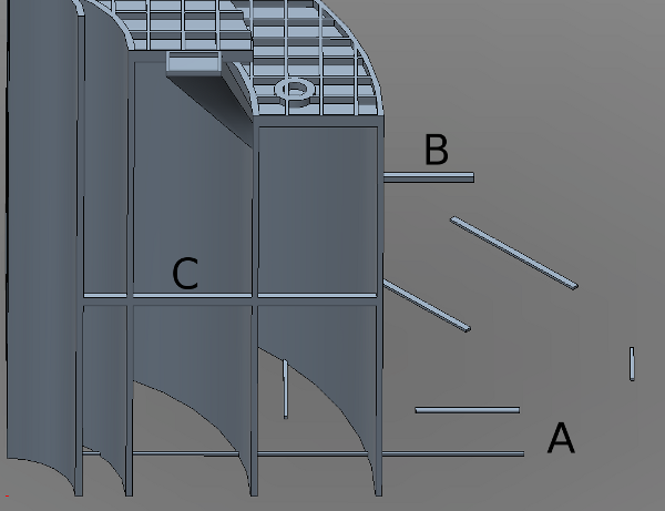 AUV hull cutaway pieces from the side.