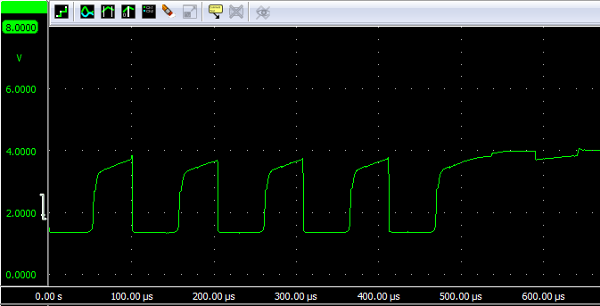'U' sent at 19200 bps over infrared with JFET voltage follower at 7.5 cm.