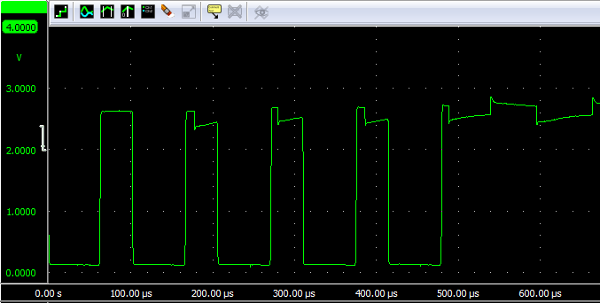 'U' sent at 19200 bps over infrared with op-amp comparator.