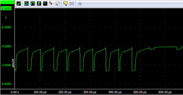 'U' sent over infraret with JFET voltage follower at 2 cm.
