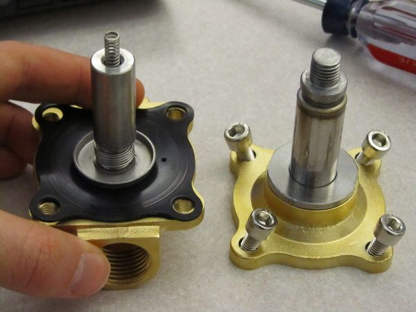 Inner workings of a solenoid valve.